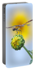Dragonfly In Sunflowers Portable Battery Charger by Robert Frederick