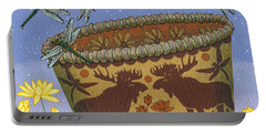 Portable Battery Charger featuring the painting Dragonfly - Cohkanapises by Chholing Taha