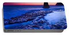 Dramatic Sunset View Of A Sea Stack In Davenport Beach Santa Cruz. Portable Battery Charger