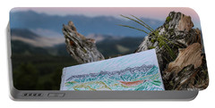 Drawing Of Montanas Rocky Mountains Portable Battery Charger