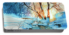 Portable Battery Charger featuring the painting Drawn To The Sun by Hanne Lore Koehler