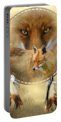 Portable Battery Charger featuring the painting Dream Catcher- Spirit Of The Red Fox by Carol Cavalaris