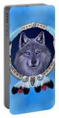 Dream Wolf Portable Battery Charger by Glenn Holbrook