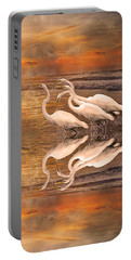 Dreaming Of Egrets By The Sea Reflection Portable Battery Charger by Betsy Knapp