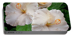 Dreamy Blooms - White Hibiscus Portable Battery Charger