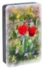 Portable Battery Charger featuring the painting Dressed In Red  by Kerri Farley