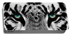 Dressed To Kill - White Tiger Art By Sharon Cummings Portable Battery Charger