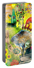 Portable Battery Charger featuring the mixed media Drifting Away by Ally  White