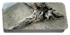Portable Battery Charger featuring the photograph Driftwood At Lake Erie by Kathy Barney