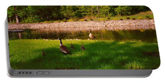 Duck Family Getting Back From Pond Portable Battery Charger