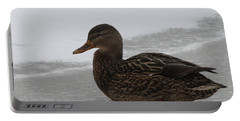 Portable Battery Charger featuring the photograph Duck On Ice by John Telfer