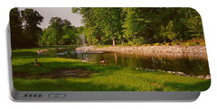 Duck Pond With Water Fountain Portable Battery Charger by Amazing Photographs AKA Christian Wilson