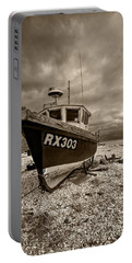 Dungeness Boat Under Stormy Skies Portable Battery Charger