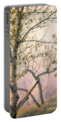 Dusk On Shoreline Trees Portable Battery Charger