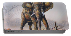 Portable Battery Charger featuring the painting Dusty Jumbo by Anthony Mwangi