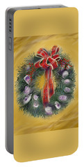 Portable Battery Charger featuring the painting Duxbury Oyster Wreath by Jean Pacheco Ravinski