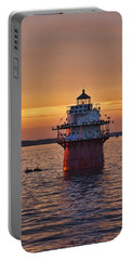 Duxbury Pier Light At Sunset Portable Battery Charger