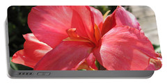 Portable Battery Charger featuring the photograph Dwarf Canna Lily Named Shining Pink by J McCombie