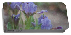 Portable Battery Charger featuring the photograph Dwarf Iris With Texture by Patti Deters