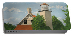 Portable Battery Charger featuring the painting Eagle Bluff Lighthouse Wisconsin by Norm Starks