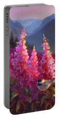 Eagle River Summer Chickadee And Fireweed Alaskan Landscape Portable Battery Charger by Karen Whitworth