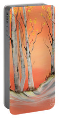 Portable Battery Charger featuring the painting Early Winter Aspen by Janice Rae Pariza