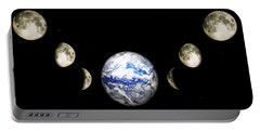 Earth And Phases Of The Moon Portable Battery Charger by Bob Orsillo