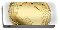 Earth In Gold Metal Isolated - Africa Portable Battery Charger