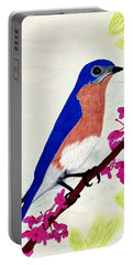 Portable Battery Charger featuring the drawing Florida - Eastern - Blue Bird by D Hackett