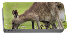 Eastern Grey Kangaroo And Joey In Pouch Portable Battery Charger