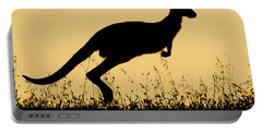 Eastern Grey Kangaroo Hopping At Sunset Portable Battery Charger