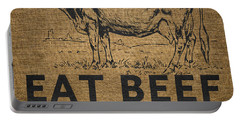 Portable Battery Charger featuring the digital art Eat Beef by Nancy Ingersoll