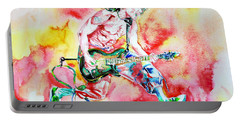Eddie Van Halen Playing And Jumping Watercolor Portrait Portable Battery Charger
