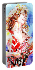 Eddie Van Halen Playing The Guitar.2 Watercolor Portrait Portable Battery Charger