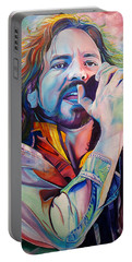Eddie Vedder In Pink And Blue Portable Battery Charger by Joshua Morton
