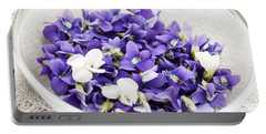 Edible Violets In Bowl Portable Battery Charger