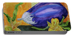 Portable Battery Charger featuring the painting Eggplant And Alstroemeria by Beverley Harper Tinsley
