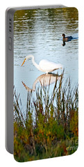 Portable Battery Charger featuring the photograph Egret And Coot In Autumn by Kate Brown