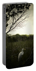 Egret At Sunset Portable Battery Charger