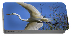 Egret Flying Portable Battery Charger by Judith Morris
