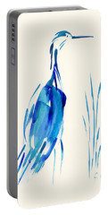 Egret In Blue Mixed Media Portable Battery Charger