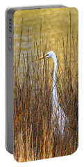 Egret In The Grass Portable Battery Charger