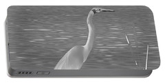 Portable Battery Charger featuring the photograph Egret In White Satin by Frank Bright