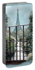 Eiffel Garden In Blue Portable Battery Charger