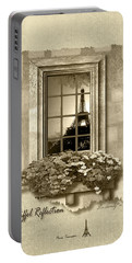 Eiffel Reflection In Sepia Portable Battery Charger