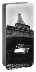 Eiffel Tower B/w Portable Battery Charger by Jennifer Ancker