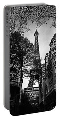 Eiffel Tower Black And White Portable Battery Charger