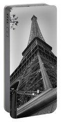 Eiffel Tower In Black And White Portable Battery Charger