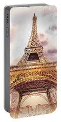 Portable Battery Charger featuring the painting Eiffel Tower Vintage Art by Irina Sztukowski