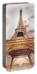 Eiffel Tower Vintage Art Portable Battery Charger by Irina Sztukowski
